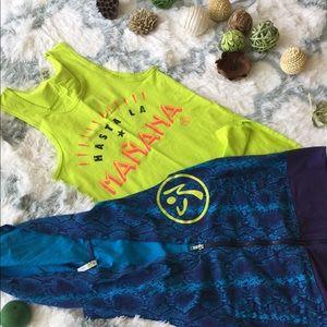 ZUMBA : 2 zumba tops and hoodies vests